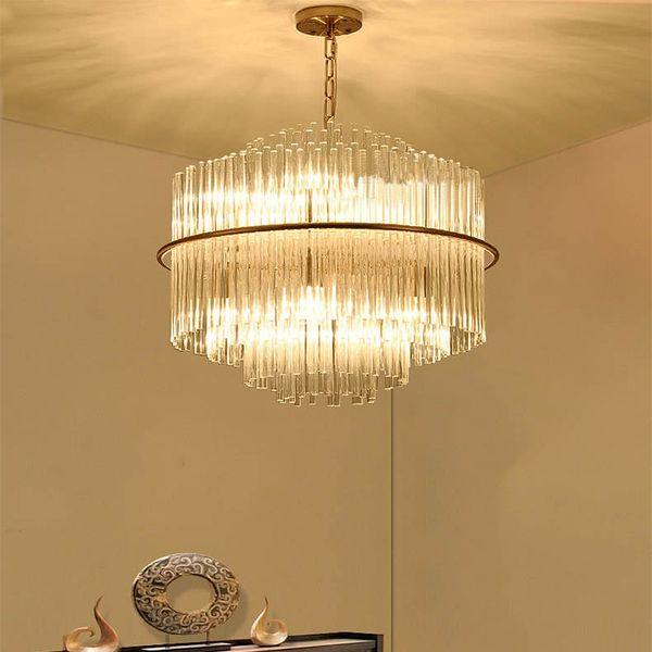 Hotel Restaurant Lobby Lamp Post Modern Nordic Crystal Chandelier Villa Living Room Bedroom Lamp Duplex Chandelier Drum Light Pendant Discount Pendant
