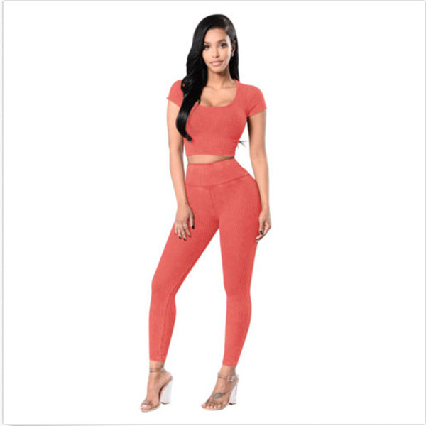 Women's Leisure Femals Suits Set Solid Short Sleeve Crop Top+Ankle-Length Pants 2pcs Outfits Clothing Hot Sale Wear W Women's Leisure Femals Suits Set Solid Short Sleeve Crop Top+Ankle-Length Pants 2pcs Outfits Clothing Hot Sale Wear W