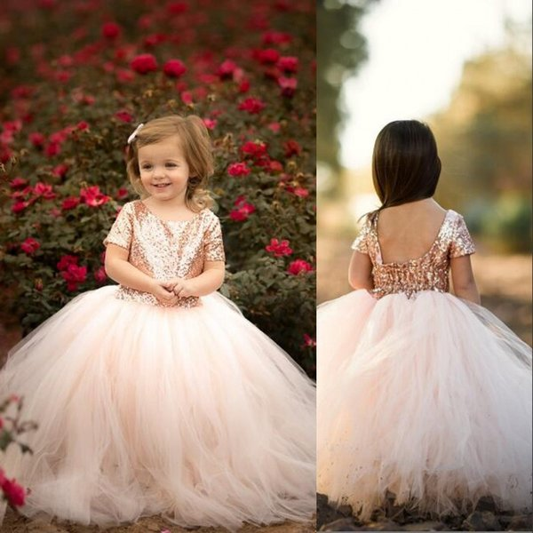 2019 New Little Girls Pageant Gowns Short Sleeve SequinTulle A Line Flower Girl Dress Kids Formal Wear For Wedding