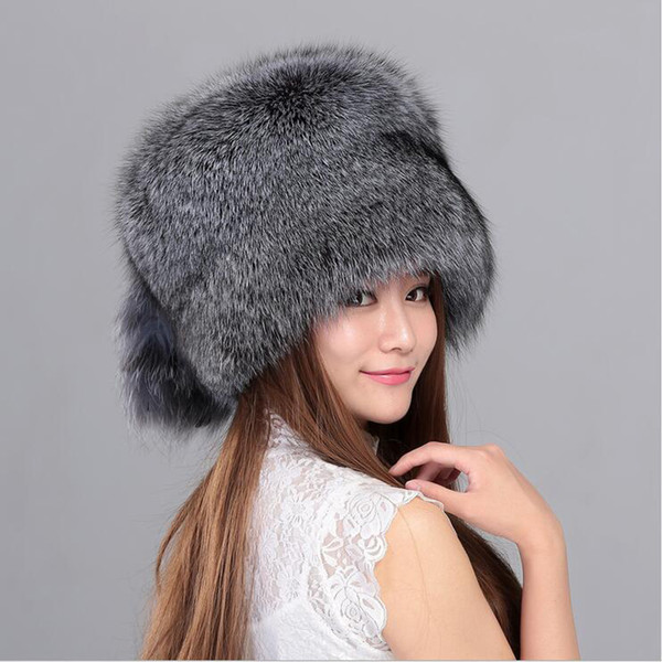 100% Real Whole Plate Fox Fur Hat For Women Winter Fox Fur Beanies Cap With Fox Fur Solid New Thick Female Cap Bomber Hats