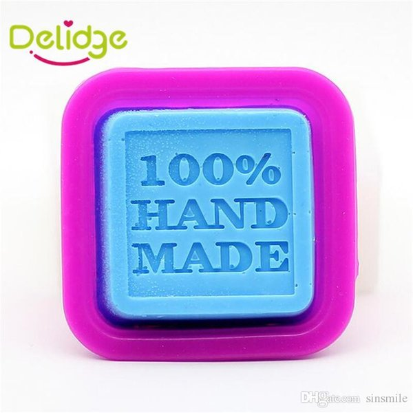 Wholesale- 1 pc 100% Handmade Letter Soap Mold Silicone Square Chocolate Ice Tray Candle Sugercraft 100 Percent Hand Made DIY Mold