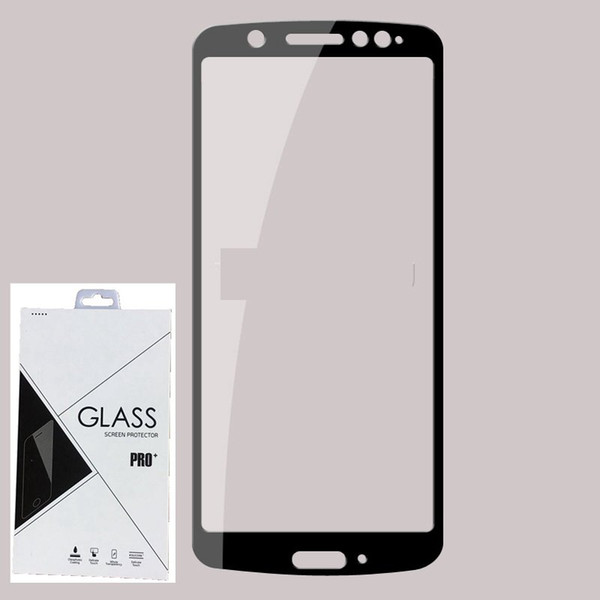 9H Full Cover Tempered Glass Screen Protector Silk Printed FOR MOTOROLA MOTO G6 plus G6 play E5 PLUS E5 PLAY 600PCS/LOT IN Retail package