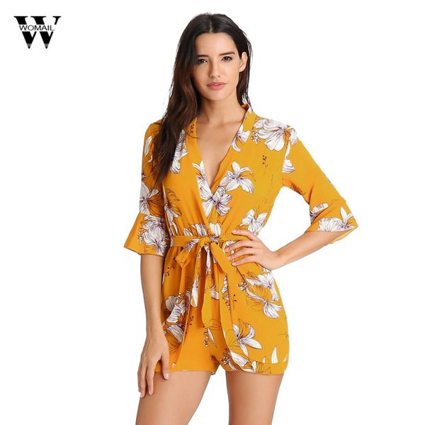 Womail Women's Deep V-Neck Half Sleeve Ruffles Bow Tie Floral Print Ladies Summer Shorts Jumpsuit Sexy Jumpsuit Summer Mar 11