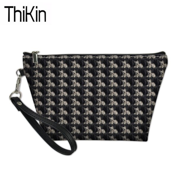 THIKIN Women's Travel Cosmetic Cases West Highland Terrier Dog Printing Makeup Box Ladies Portable Wash Kit Bags for Make Up
