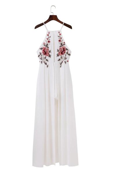 Caual Kleid für Frau knielangen Mädchen einfache Vintage elegante Body Lady Overall Strampler rückenfreie Stickerei Playsuit Party Strand Sommer