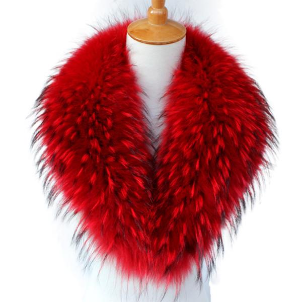 Real Raccoon Fur Scarves Woman 100% Pure Natural Raccoon Fur Collar Warm Winter Wraps Red Fox Fur Collar S#18 D19011004