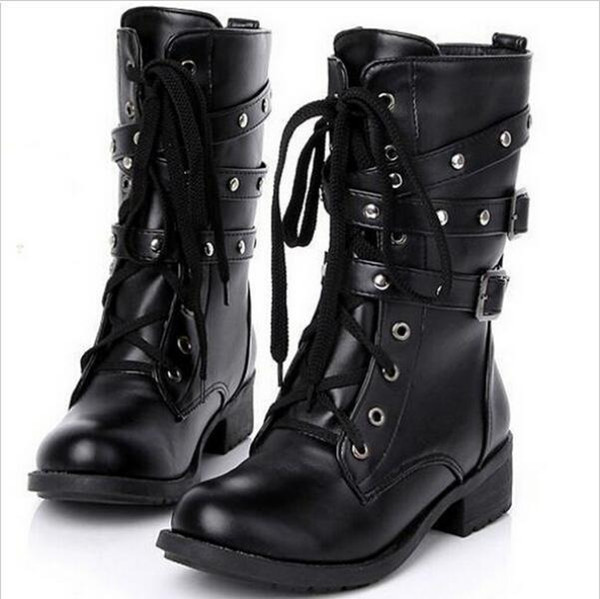 Wholesale- Plus Size 52 Genuine Leather Martin Boots Nice New Autumn Winter Boots Fashion Rivets Lace Up Flat Shoes For Zapatos Mujer K727