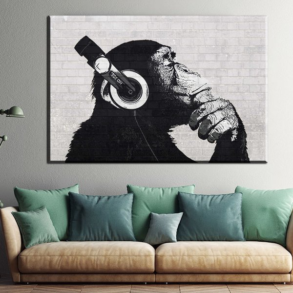 1 Piece Custom Canvas Poster Steez Monkey Headphone Posters Home Decoration Oil Paintings Art For Livingroom Wall No Framed