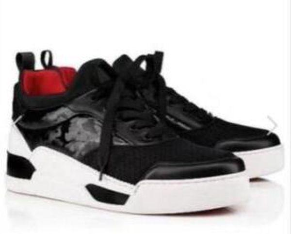 Имя Марка Дизайнер Повседневная обувь Человек с красной подошвой Кроссовки на плоской подошве Новый дизайнер на шнуровке с высоким верхом Смешанные цвета Черный Белый Кроссовки Размер 38-46