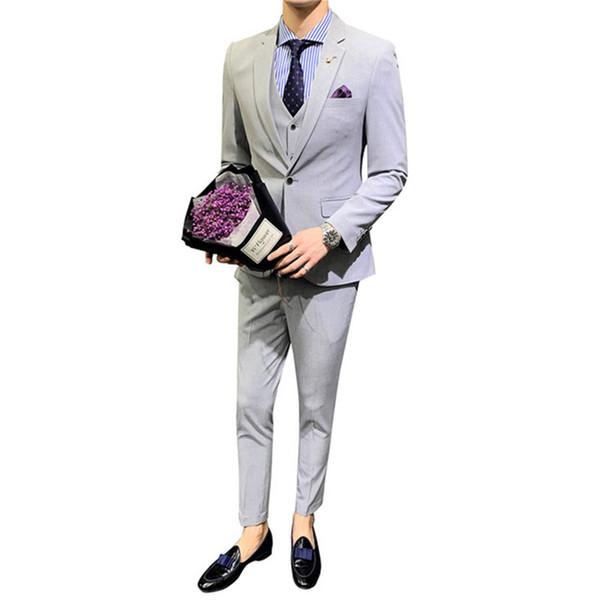 Мужской костюм мода сплошной цвет костюм 3 шт. Набор (куртка + брюки + жилет) свадьба жених жених платье мужской бизнес повседневная