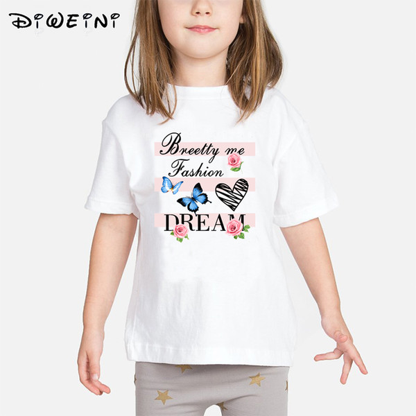 Baby Girls T shirt 2019 Summer Kids Butterfly Print Clothes Children T-shirts White O-Neck Camisetas 2 to 8 Years Toddler Tops