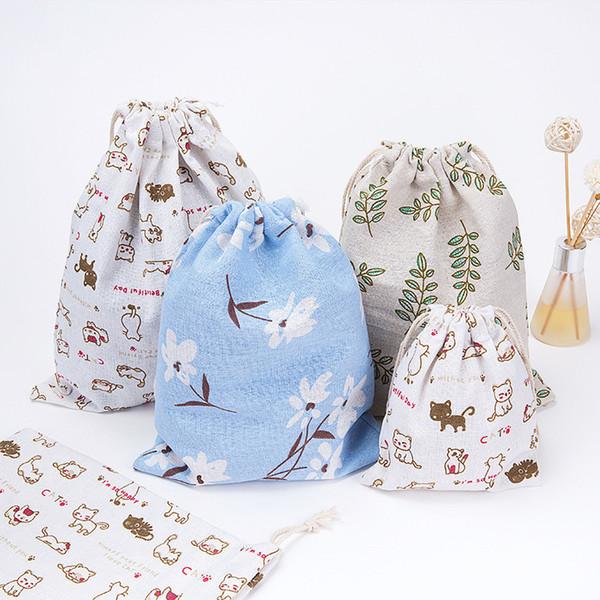 45PCS / LOT Shopping Bag Canvas Reusable Eco Fashion Unisex Printing Simple Drawstring Bag Travel Underwear Shoe Storage Bag