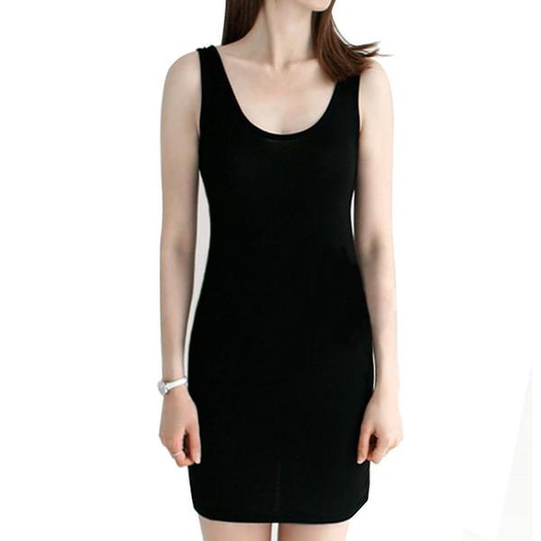 New Fashion Women 's Vintage Bodycon sin mangas Casual Camiseta sin mangas con cuello alto Mini vestido 10 colores Nuevo vestido Bodycon