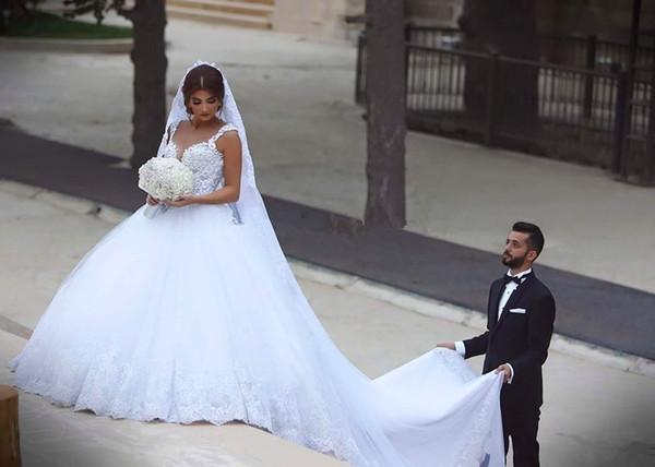 Sexy Ball bridal Gown Deep V neck 2019 Romantic Lace Long Back Brides vestido de noiva casamento mother of the bride dresses