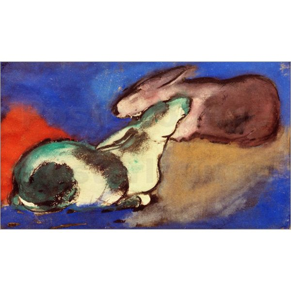 High quality Franz Marc Paintings Tow Sleeping Rabbits modern art Hand painted