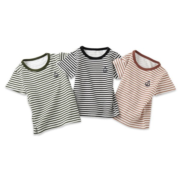 Summer Baby Boy Girl Tops And Tees Children Kids Boy Girl Short Sleeve Striped Top T-shirt Clothes Baby Boy Girl Clothes JE13