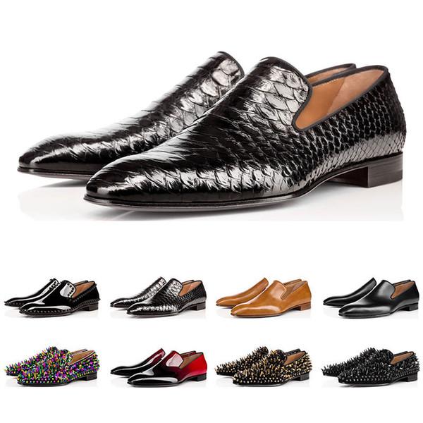 2019 Chaud designer de mode mens chaussures mocassins spike noir rouge en cuir verni Slip On Dress Robe de mariage Bottoms Shoe for Business Party