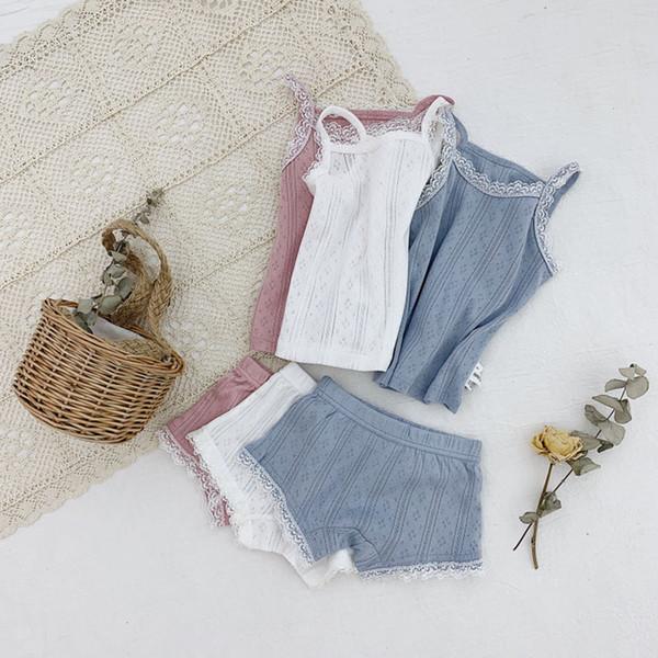 Cute Cotton Baby Girls Clothes 2pcs Set Summer Hollow Out Striped Vest Tops + Shorts Outfit Suit Infant Kids Children Clothes