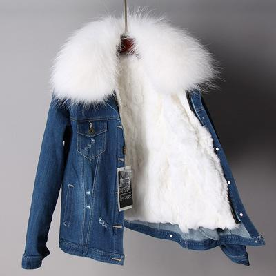 white raccoon fur collar women warm jackets white rabbit fur lining dark blue demin mini parkas