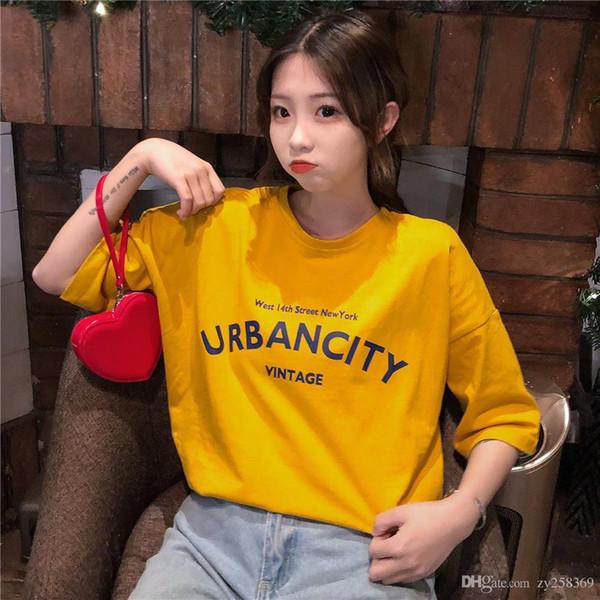 2019 yaz tasarımcısı Kore versiyonu okul rüzgar ceket eğilim kadın moda kısa kollu Tişört gevşek sokak giyim yeni yeni