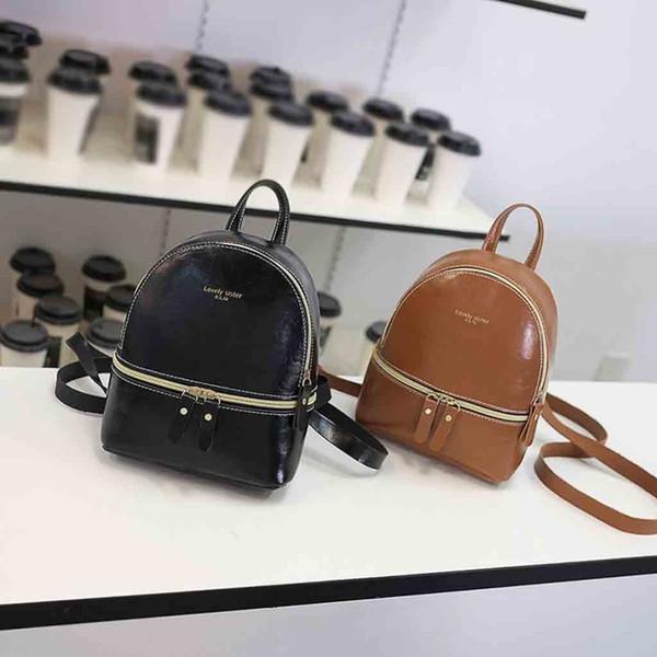 Mochila de cuero de Japón y Corea del estilo de las mujeres de cuero del aceite Mochila de señora Hombros Pequeña letra monedero bolso del teléfono móvil