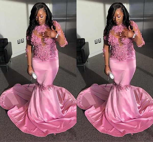 South African Long Sleeve Pink Prom Dresses Long 2019 Mermaid High Neck Applique Sequins Long Junior Graduation Gowns Evening Dress Wear Formal