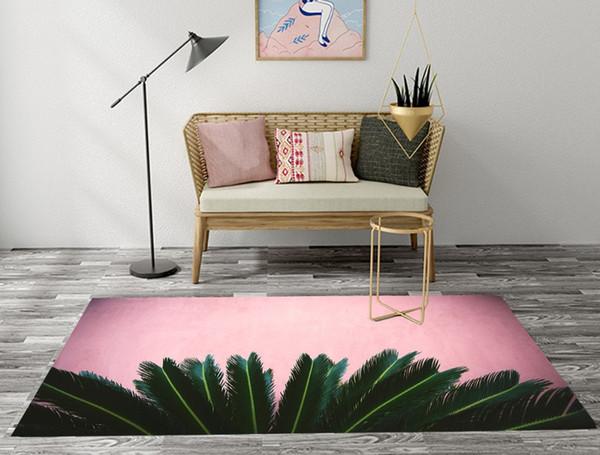 Paillasson INS Style Vert Feuille de Palmier Rose Salle de séjour Tapis Salle de bain Coussin pour chambre à coucher Tapis de sol Tapis de bain Tapis antidérapant
