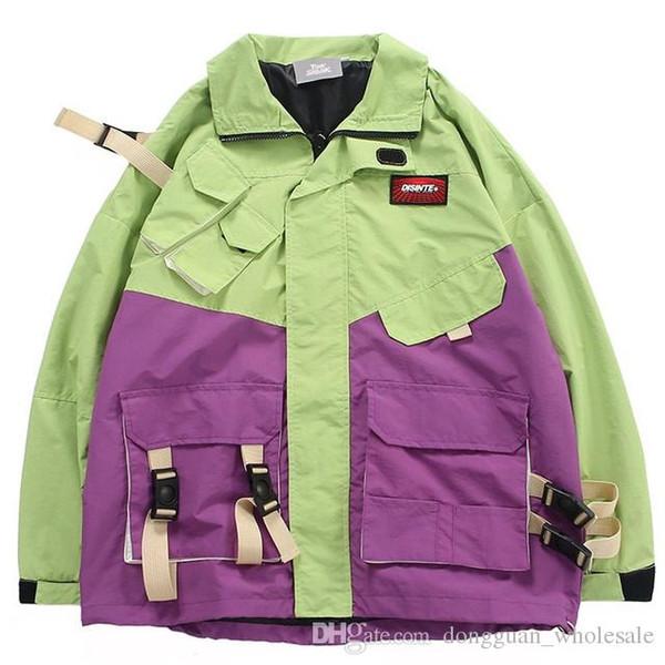 Männer Hip Hop Street Jacke Color Block Retro Harajuku Windjacke Kid Planet Print 2019 Trainingsjacke Mantel Multi Pocket