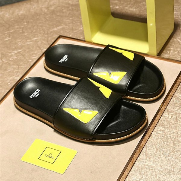 Mens F Logo Slipper DH Best Selling Summer Lovers Slipper Fashion Black Shoes Men's Beach Slippers Home Slippers