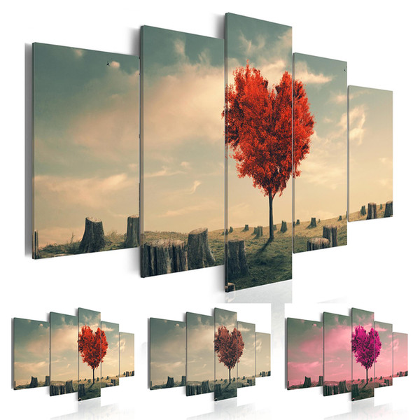 5 Panel Sets Beautiful Red Love Tree Landscape Painting Flowers Modern Pictures on Canvas Modern Living Room Office Decoration (unframed)