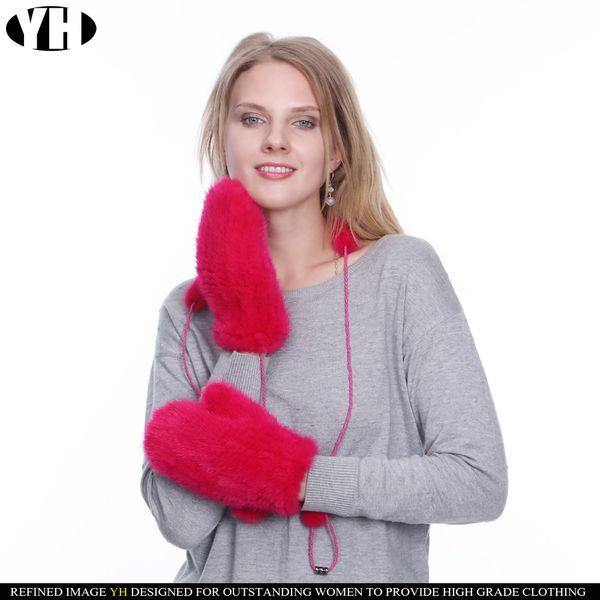 2019 Neu kommen Frauen echte Handschuhe gestrickt natürliche Fäustlinge warme elastische Dame Markenpelzhandschuh hohe Qualität