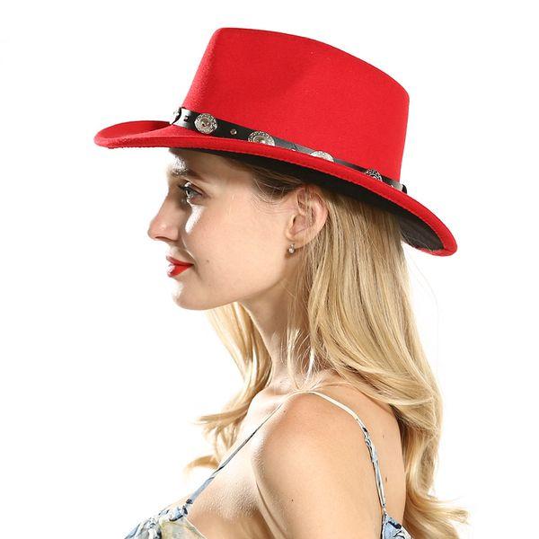 Unisex Wide Brim Black Red Patchwork Wool Felt Trilby Western Cowboy Jazz Fedora Hats for Women Men Plain Fascinator Party Hats
