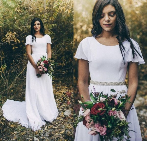 2019 New Simple A-line Chiffon Modest Wedding Dresses With Flutter Sleeves Scoop Neck Detachable Crystals Belt Boho Modest Bridal Gowns