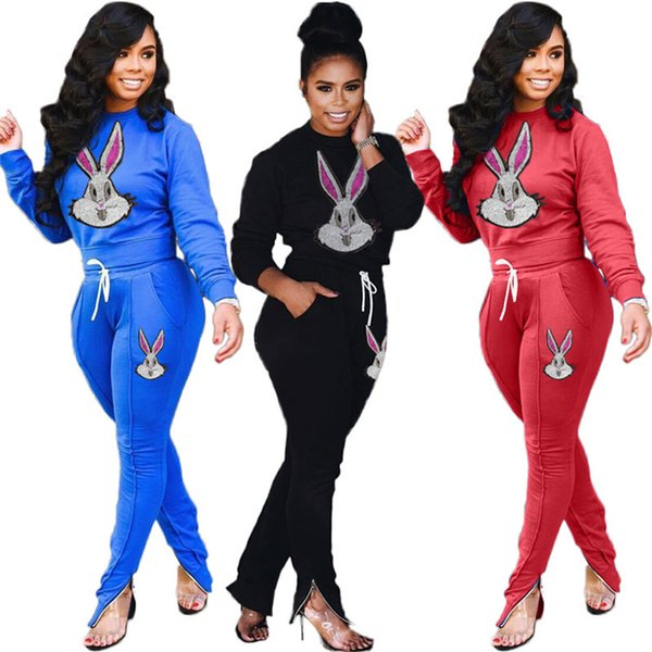 Les femmes hoodies deux pièces ensemble vêtements d'hiver tombent concepteur de vêtements de sport imprimé lapin sweat à manches longues jambières de poche de tenues casual 1486