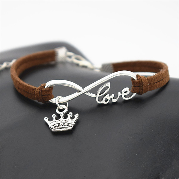 Silver Infinity Love King Imperial Crown Pendant Custom Charm Bracelets Handmade Dark Brown Leather Suede Rope DIY Personalized Jewelry Gift