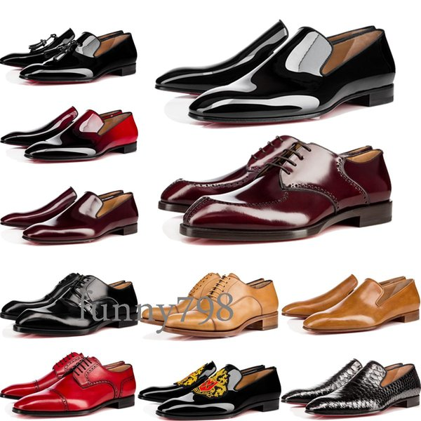 [with box] cowhide 20 Red Bottoms Business shoes Luxury Party Wedding Chaussures habillées Genuine Leather Spikes Lace-up CL Designs Shoes