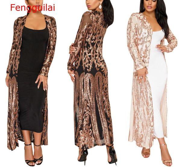 Fengguilai Женщины Блестящие Золотые Блестки Куртка Сексуальная Открытый Фронт Длинное Пальто Весна Осень Повседневная Блеск Кимоно Партия Клуб Топ