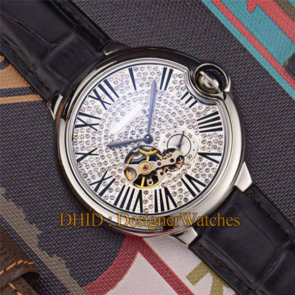 Fashion watches Luxury Mens Watches Diamond Dial High Quality Mechanical Autoamtic Movement Watch Brown Leather Strap designer watch man