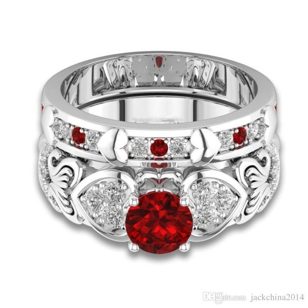 2018 Nova Chegada Impressionante Moda Jóias 925 Sterling Silver Redonda Red Ruby CZ Diamante Mulheres Anel De Casamento De Noiva Conjunto Presente Com Caixa