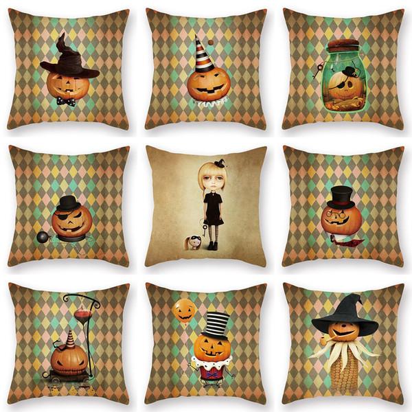 Nueva Personalidad Simple Moda Halloween Retro Calabaza Imprimir Melocotón Gamuza Funda de almohada Sofá Oficina Almohada Cojín Cojín Fundas para el hogar
