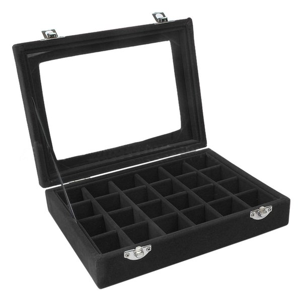 Jewelry Ring Velvet Glass Display Organizer Box Tray Holder Earring Storage Case drop shipping new products selling well