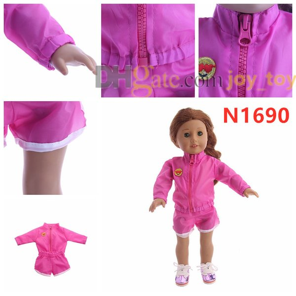 18 inch doll Outdoor Sport Suit Long Sleeve Jacket Short Pants Sport Suit for 18 inch American Girl Doll Cloth Accessory
