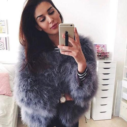 100% Hand-Made Fluffy Feather Fever Fur Jackets Knitted Genuine Ostrich Fur Coat Women Retail Wholesale Grey fluffy fur fever T191024