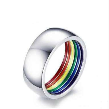 Rainbow Gay Ring Men's hip hop bling ring Bling Jewelry Marine Micro Paved hot design Couple Rings For Gifts top quality Free Shipping