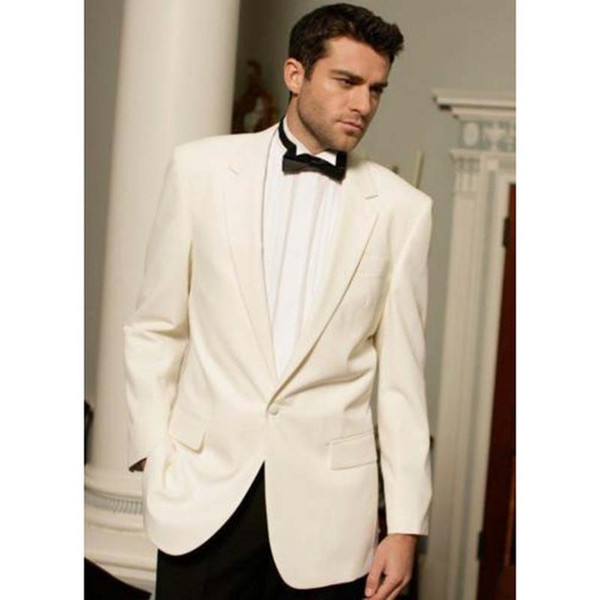 Classic Designe Beige Men Wedding Dress Excellent Groom Tuxedos Hot Sale Jacket Blazer Men Business Dinner/Prom Suit(Jacket+Pants+Tie) 518