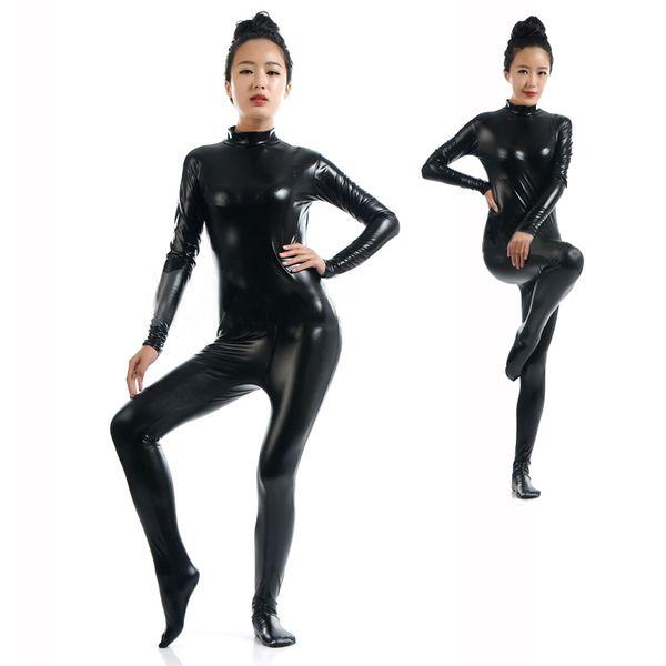 Vendita calda Sexy Nero Full Body Tuta Tuta Wetlook Faux Leather Catsuit Halloween Cosplay Tuta Estensibile Clubwear