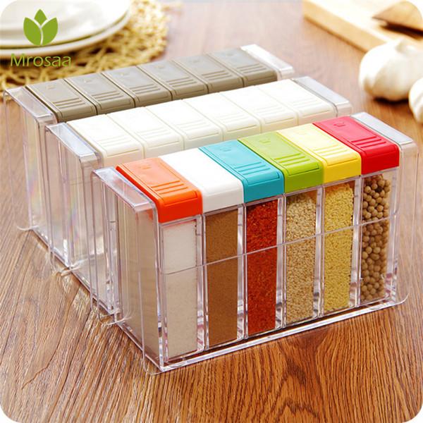 Bottiglie da cucina Vasi Organizzatore Cucina stagionatura scatole di plastica Spice coperchio può Zucchero Livelli Storage Box condimento contenitore della cassa