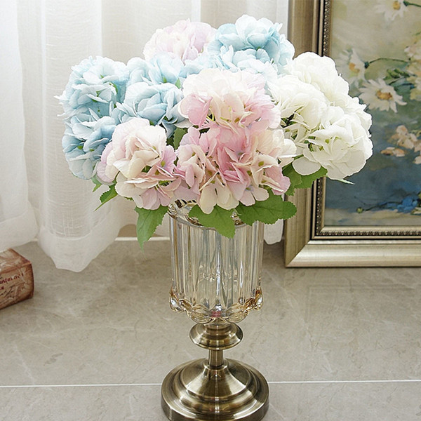 5 Head Hydrangea Artificial Flowers Bouquet White Small Silk Fake Flowers Floral Faux Flowers Blue Wedding Home Party Decoration