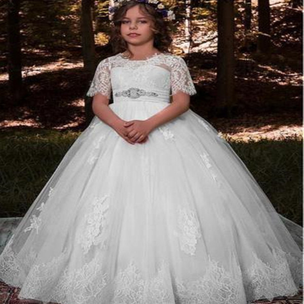 Beautiful Holy Communion Dresses Ball Gown for Flower Girls Custom Made Long Puffy Tulle Prom Dress Children with Sash First Communion