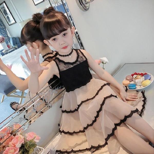 Girl Summer Dress Sling Big Kid Vest Pure Color A Lady Foreign Gas Children Dresses For Girls Dress Dance 8-12 Years Old J190712